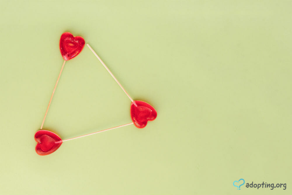 The adoption symbol contains two shapes, a heart and a triangle, which represent the love between the members of the adoption triad. The adoption triad...